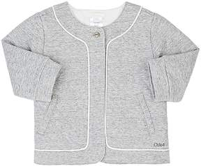 Chloé PIPED QUILTED COTTON-BLEND JERSEY JACKET
