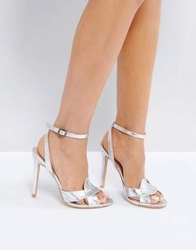 Public Desire Radiance Silver Cross Strap Heeled Sandals