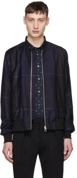 Paul Smith Navy Windowpane Check Zip Bomber Jacket