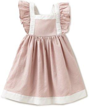 Edgehill Collection Baby Girls 12-24 Months Ruffled Linen Dress