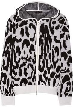 Baja East Leopard-Patterned Cashmere Hooded Top