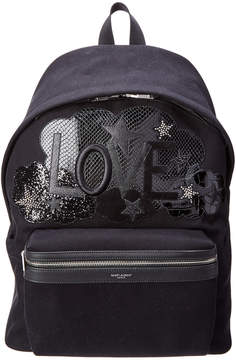 Saint Laurent Classic City California Love Patch Canvas & Leather Backpack