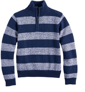 Chaps Boys 4-20 Striped Quarter-Zip Sweater