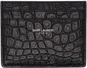 Saint Laurent Black Croc-Embossed Card Holder