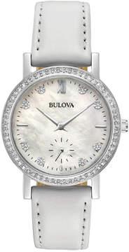 Bulova Women's White Leather Strap Watch 32mm 96L245