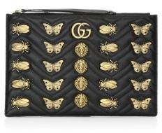 Gucci Metal Mix GG MarmontLeather Pouch - BLACK - STYLE