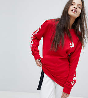 Converse Long Sleeve T-Shirt In Red With Arm Graphic