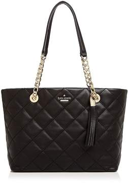 Kate Spade Emerson Place Priya Small Quilted Leather Tote - BLACK/GOLD - STYLE