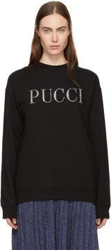 Emilio Pucci Black Rhinestone Logo Sweatshirt