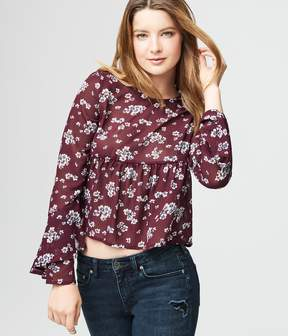 Aeropostale Long Bell Sleeve Floral Empire-Waist Top