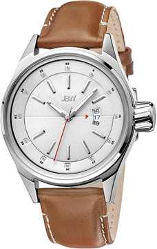 JBW Rook Silver Dial Brown Leather Strap Men's Watch