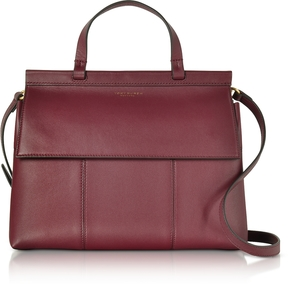 Tory Burch Imperial Garnet/Deep River T Leather Top Handle Satchel - BURGUNDY - STYLE