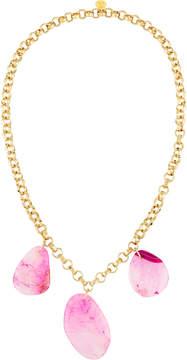 Devon Leigh Long Triple-Agate Pendant Necklace, Pink