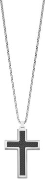 Lynx Men's Two Tone Stainless Steel Textured Cross Pendant Necklace