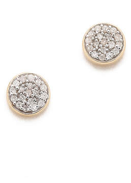 Adina 14k Gold Solid Pave Disc Earrings