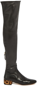 Francesco Russo Over-the-knee leather and calf-hair boots