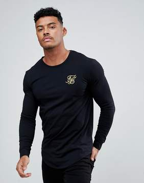SikSilk Muscle Long Sleeve T-Shirt In Black With Gold Logo
