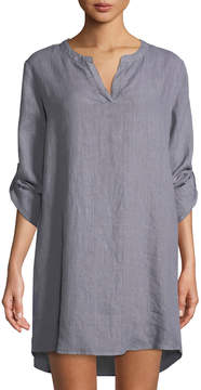 Allen Allen Linen Roll-Sleeve Tunic Dress
