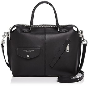 Marc Jacobs The Edge Bauletto Leather Satchel - BLACK/SILVER - STYLE