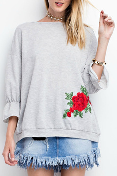 Easel Floral Embroidered Pullover