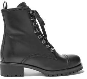 Prada Shearling-lined Leather Ankle Boots - Black