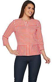 C. Wonder Mixed Stripe Zip Front 3/4 Sleeve Knit Jacket