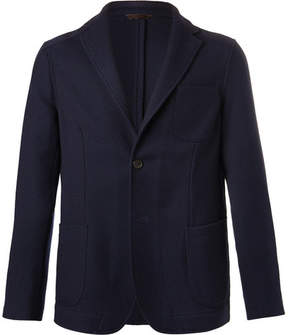 Altea Navy Slim-Fit Textured Wool-Blend Blazer