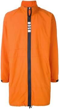 MSGM contrast zip rain coat