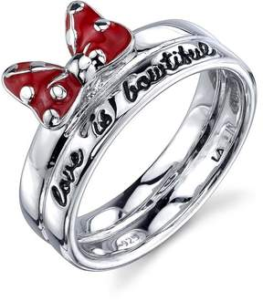Disney Sterling Silver Love Is Bowtifull Ring with Red Enamel