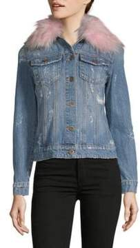 Driftwood Geena Faux Fur Collar Denim Jacket