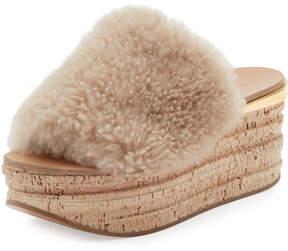 Chloé Camille Shearling Fur Platform Slide Sandals, Sand