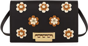 Zac Posen Earthette Floral Appliqués Leather Crossbody Bag, Black