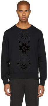 Alexander McQueen Black Embroidered Velvet Sweatshirt