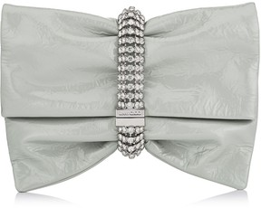 Jimmy Choo CHANDRA/M Moonstone Wet Look Patent Clutch Bag with Maxi Crystal Bracelet