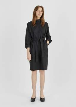 Atlantique Ascoli Cotton Ruffle Collar Shirtdress Black Poplin Size: 0