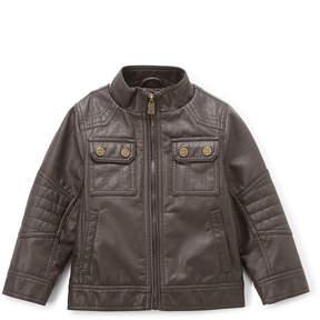 Urban Republic Dark Brown Button-Pocket Faux Leather Jacket - Boys