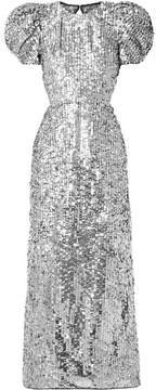 Carolina Herrera Open-back Sequined Tulle Gown - Silver