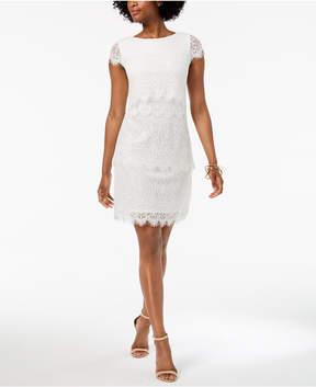 Donna Ricco Tiered Lace Sheath Dress