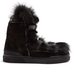 Balmain Apollon fur and suede boots