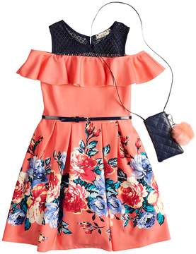 Knitworks Girls 7-16 & Plus Size Ruffle Cold Shoulder Belted Skater Dress with Necklace & Crossbody Purse