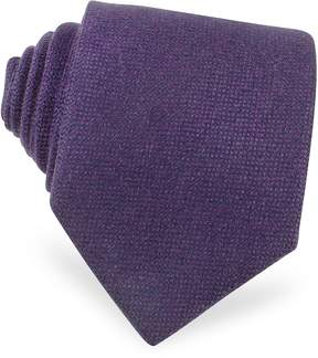 Forzieri Solid Purple Cashmere Extra-Long Tie