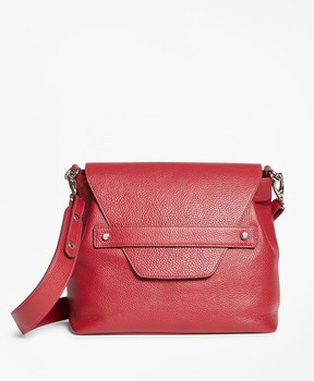 Brooks Brothers Pebbled Leather Envelope-Flap Shoulder Bag