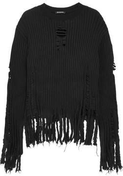 Balmain Distressed Ribbed Wool Sweater - Black