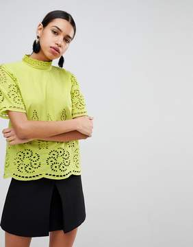 Fashion Union High Neck Top With Tonal Broderie Trims