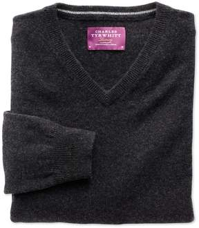 Charles Tyrwhitt Charcoal Cashmere V-Neck Sweater Size Small