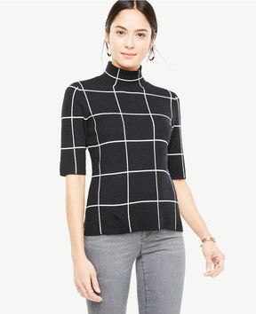 Ann Taylor Windowpane Short Sleeve Sweater