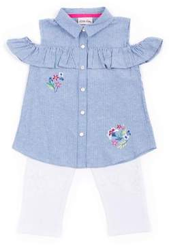 Little Lass Toddler Girl Cold Shoulder Chambray Top & Capri Leggings, 2Pc Outfit Set