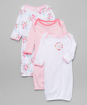 Luvable Friends Pink Flower Gown Set - Newborn