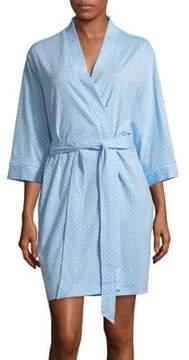 Karen Neuburger Dot-Print Quarter-Sleeve Robe