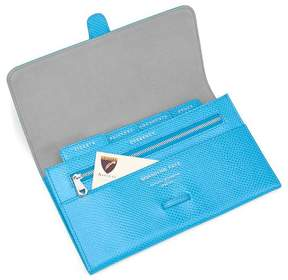 Aspinal of London | Classic Travel Wallet In Aquamarine Lizard Silver Suede | Aquamarine lizard silver suede